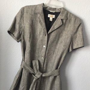 Vintage long button front Linen dress